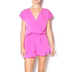 Honey Punch Pink Ruffle Detail Romper Size S